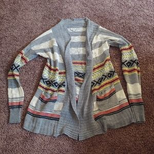 Eyeshadow gray&white open front sweater cardigan